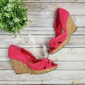 H&M Womens Pink Suede Cork Wedge Sandals Shoes